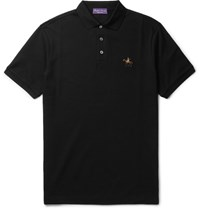 Ralph Lauren Purple Label Sli Fit Ercerised Cotton Pique Polo Shirt Black
