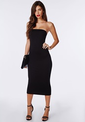 Missguided Strapless Jersey Bodycon Midi Dress Black Black