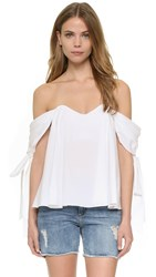 Caroline Constas Zoe Off Shoulder Bustier Top White