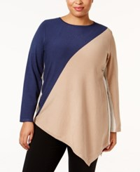 Alfani Plus Size Asymmetrical Colorblocked Sweater Only At Macy's Color Block Navy