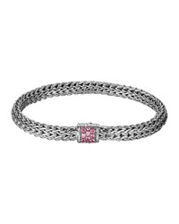 Classic Chain 6.5Mm Small Braided Silver Bracelet Pink Spinel John Hardy