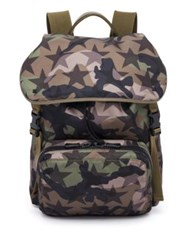 Valentino Camouflage Star Nylon And Calf Leather Backpack Khaki Green