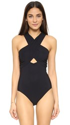 Karla Colletto Wrapping Surplice Neck One Piece Black