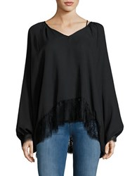 California Moonrise Lace Trimmed Dolman Top Black