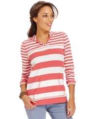 American Living Striped Hooded Pullover Americana Red Pearl