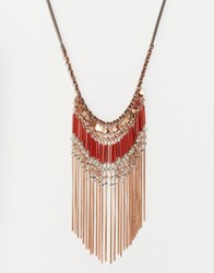 Glamorous Chain Tassel Statement Necklace Gold Multi