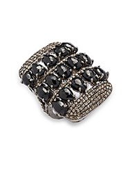 Bavna Champagne Rose Cut Diamond Black Spinel And Sterling Silver Ring