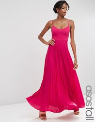 Asos Tall Cami Maxi Dress With Pleated Skirt Bright Rose Pink