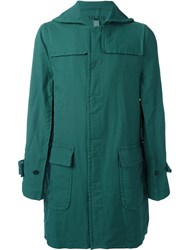 Comme Des Garcons Shirt Single Breasted Midi Coat Green