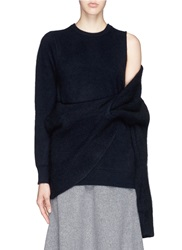 Toga Archives Asymmetric Wrap Layer Wool Sweater Blue