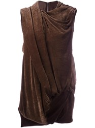 Rick Owens Draped Effect Sleeveless Top Brown