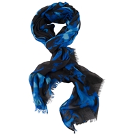 Chesca Floral Printed Scarf Blue Black