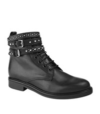 Maje Flint Leather Ankle Boots Female Black