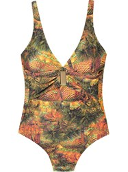 Lygia And Nanny Open Back Printed Swimsuit Yellow And Orange