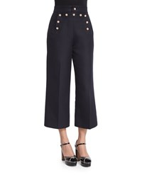 Marc Jacobs Swan Embellished Cropped Sailor Pants Navy Women's