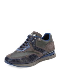 Croc And Leather Sport Sneaker Blue Stefano Ricci