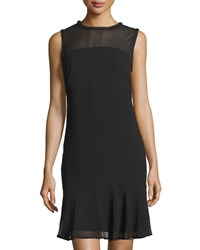 Marc New York By Andrew Marc Beaded Neck Dress W Sheer Yoke Black