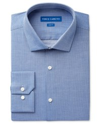 Vince Camuto Men's Slim Fit Blue Diamond Dobby Dress Shirt