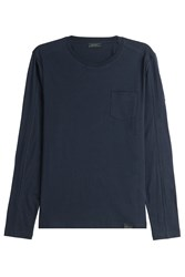 Belstaff Long Sleeved Cotton Top Blue