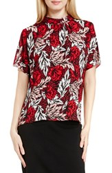 Vince Camuto Women's Shirred Mock Neck Blouse Radiant Red