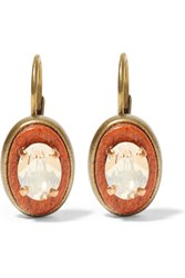 Isabel Marant Bazaar Gold Tone Wood And Crystal Earrings Bright Orange