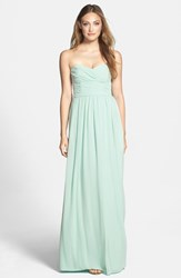 Women's Monique Lhuillier Bridesmaids Strapless Ruched Chiffon Sweetheart Gown Mint