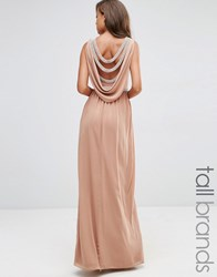 Tfnc Tall Wedding Embellished Drape Back Maxi Dress Taupe Beige