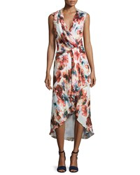Haute Hippie Sleeveless Floral Print Crossover Dress Multi Colors