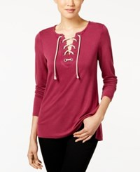 G.H. Bass And Co. Lace Up Sweatshirt Plum Gem
