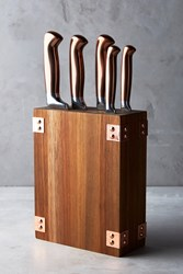 Anthropologie Wood And Copper Knife Block