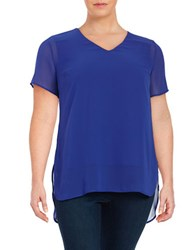 Vince Camuto Plus Hi Lo Short Sleeve Chiffon Top Blue