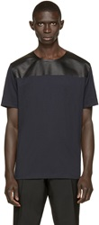 Valentino Navy And Black Leather Trimmed T Shirt
