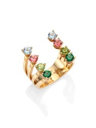 Delfina Delettrez Multicolor Topaz Cuff Ring Gold Multi