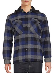 Saks Fifth Avenue Red Hooded Plaid Shirt Blue Grey
