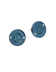 Michael Kors Cubic Zirconia And Steel Pave Stud Earrings Blue