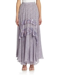 Rebecca Taylor Paisley Trimmed Ruffled Maxi Skirt Admiral Combo