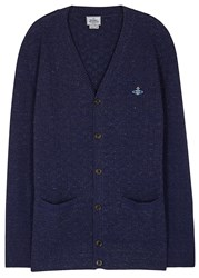 Vivienne Westwood Navy Textured Knit Wool Blend Cardigan Blue