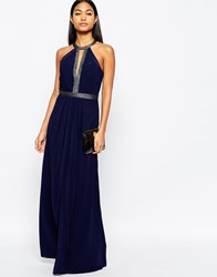 Lipsy Embellished Detail Maxi Dress With Plunge Front Navy