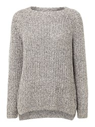 Oui Chunky Knitted Jumper Grey