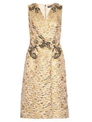 Dolce And Gabbana Embellished Floral Brocade Sleeveless Dress Gold