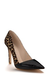Shoes Of Prey Women's Genuine Calf Hair Pointy Toe Pump Leopard Hair Black Patent
