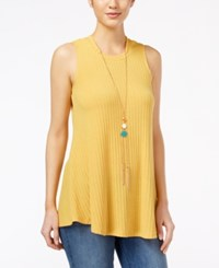 Amy Byer Bcx Juniors' Sleeveless Knit Necklace Top Yellow