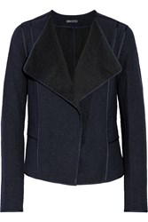 Vince Cotton Blend Boucle Jacket Blue