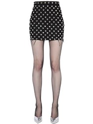 Saint Laurent Heart Studded Denim Mini Skirt