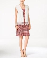 Ny Collection Petite Printed Swing Dress And Lace Trim Cardigan Taupe Pioneer