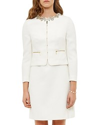Ted Baker Hamli Embellished Cropped Jacket Cream