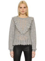 Designers Remix Mohair Wool Sweater With Ruffles