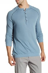 Agave Bishop Long Sleeve Supima Thermal Military Henley Blue