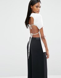 Lavish Alice Open Tie Back T Shirt Off White