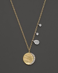 Meira T Diamond Disc Charm Necklace In 14K Yellow Gold 16